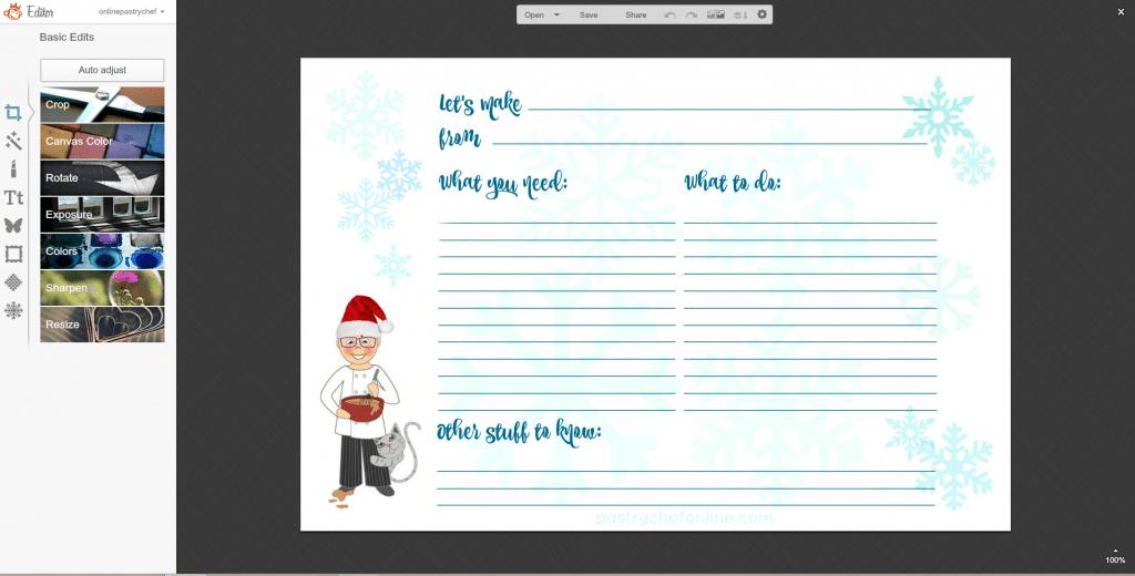step 3 in editing a recipe card in PicMonkey