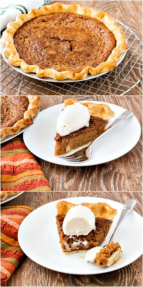 collage of three old fashioned pie images, a whole sorghum pie, a slice of sorghum pie with ice cream on top, and a half eaten slice of pie