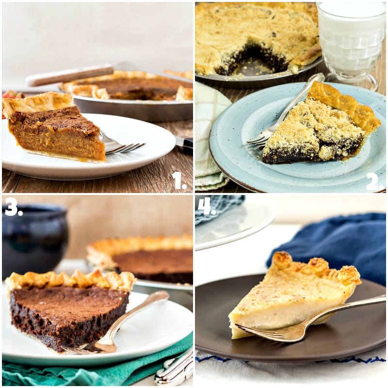 Collage of 4 photos of old fashioned pies.