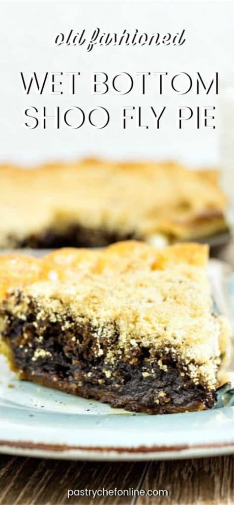 """pin image for shoofly pie text reads """"old fashioned wet bottom shoofly pie"""""""