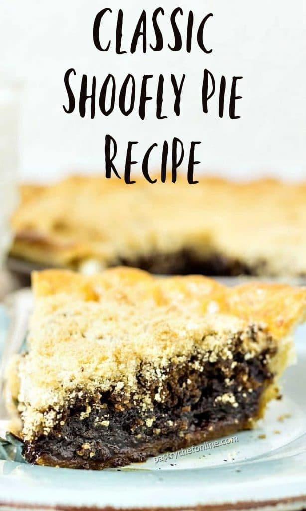 "photo of molasses pie text reads ""classic shoofly pie recipe"""