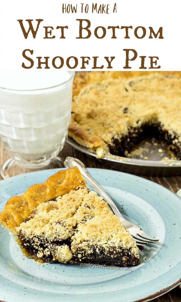 """shoofly pie image text reads """"Old Fashioned Wet Bottom Shoofly Pie"""""""