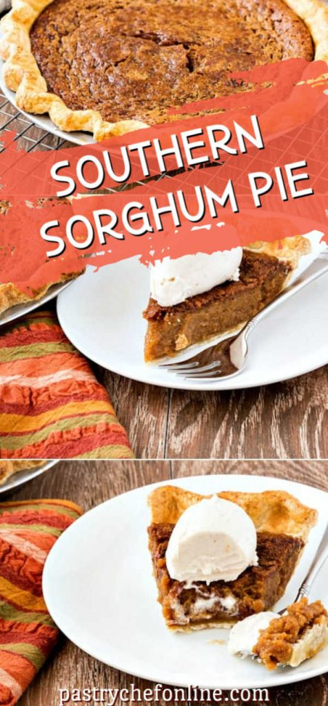 pin image for sorghum pie with 3 images of the pie, whole and cut