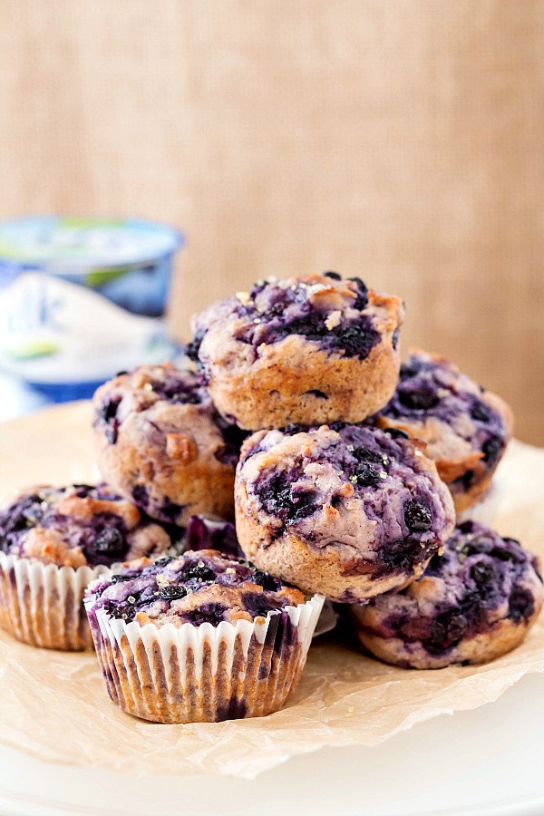 A stack of dairy free blueberry muffins.