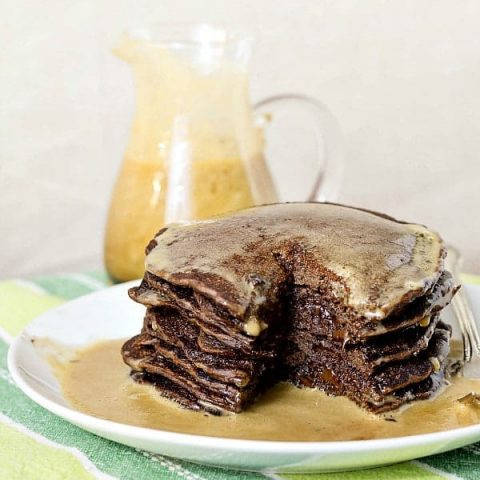 Chocolate Pancakes with Chocolate Chips (Yeast Raised)