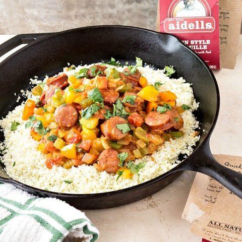 Low-Carb Cajun Style Sausage Recipe with Cauliflower Rice