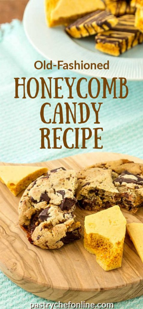 """wooden board with honeycomb candy on it. text reads """"old fashioned honeycomb candy recipe"""""""