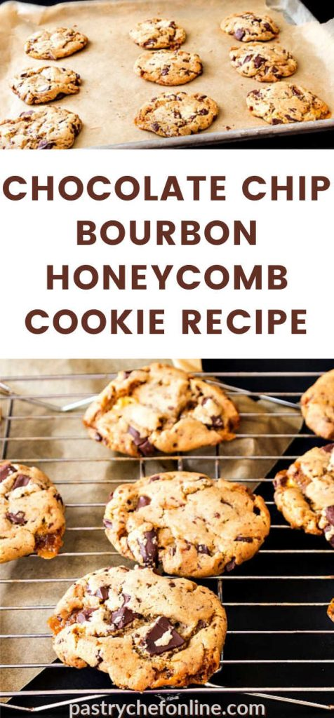 """a tray of cookies and a close up of cookies on a cookie rack text reads """"chocolate chip bourbon honeycomb cookie recipe"""""""