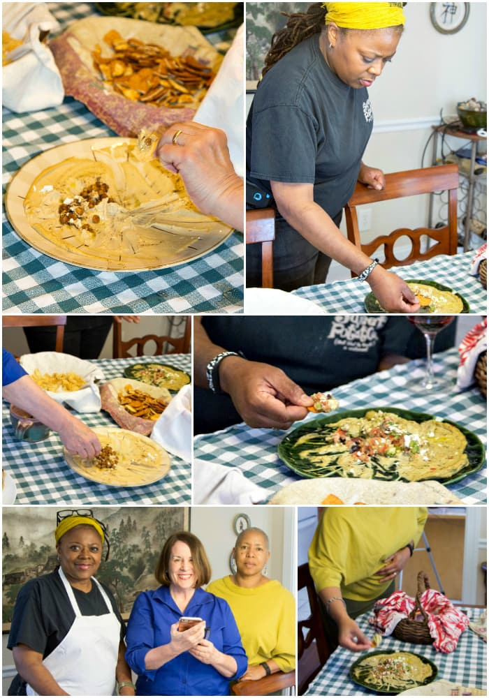 Collage of 6 images showing people eating hummus with hummus toppings.