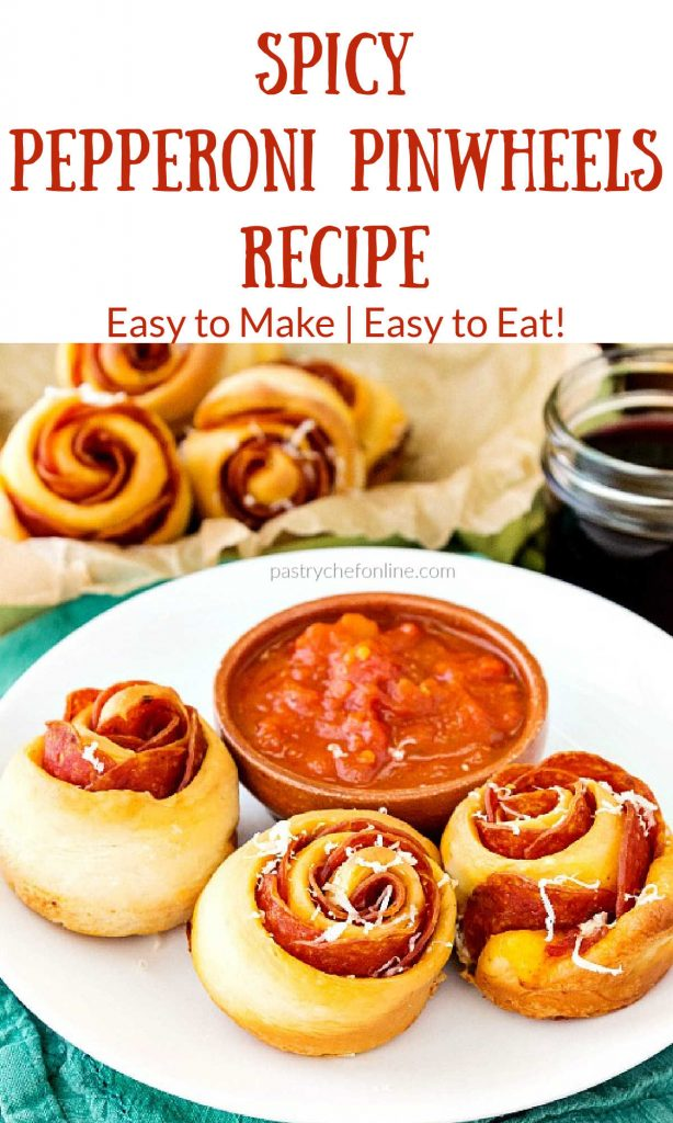 """pepperoni pinwheels on a white plate text reads """"spicy pepperoni pinwheels reicpe easy to make, easy to eat"""""""