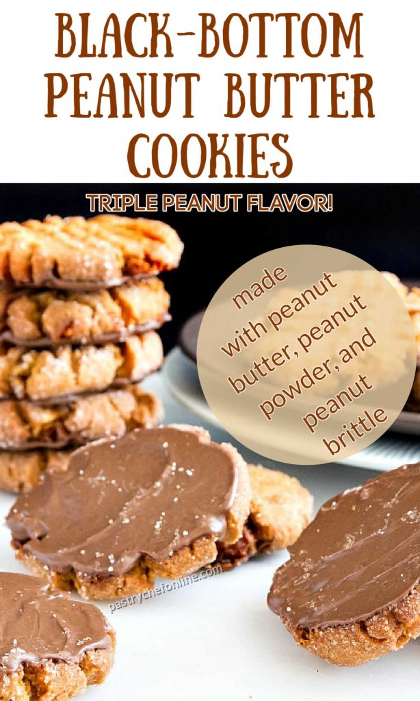 """peanut butter cookies turned upside down so you can see the chocolate spread on their backs. Text reads """"black-bottom peanut butter cookies. Triple peanut flavor. Made with peanut butter, peanut powder, and peanut brittle"""""""