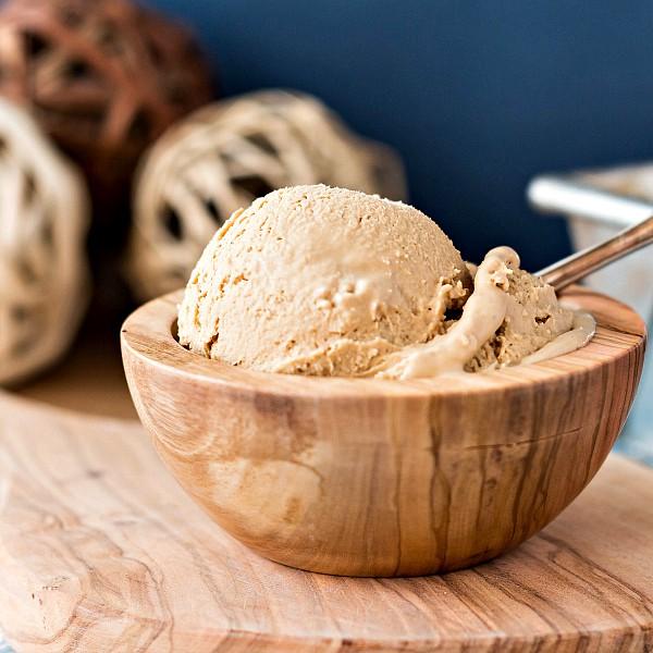 wooden dish of ice cream