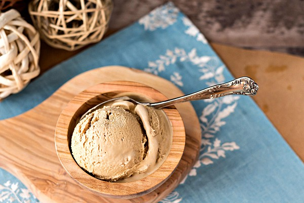 overhead shot of homemade organic ice cream in a wooden bowl
