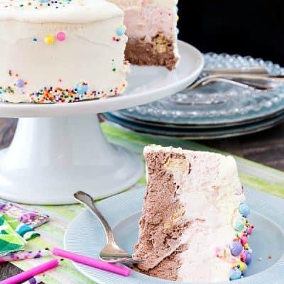 Neapolitan Ice Cream Cake | No Churn Ice Cream Cake