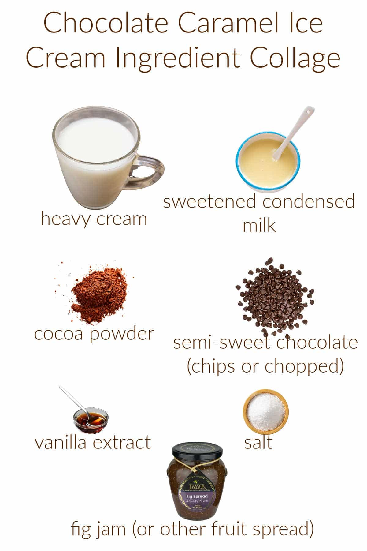 Collage of ingredients for making no-churn chocolate-caramel ice cream.