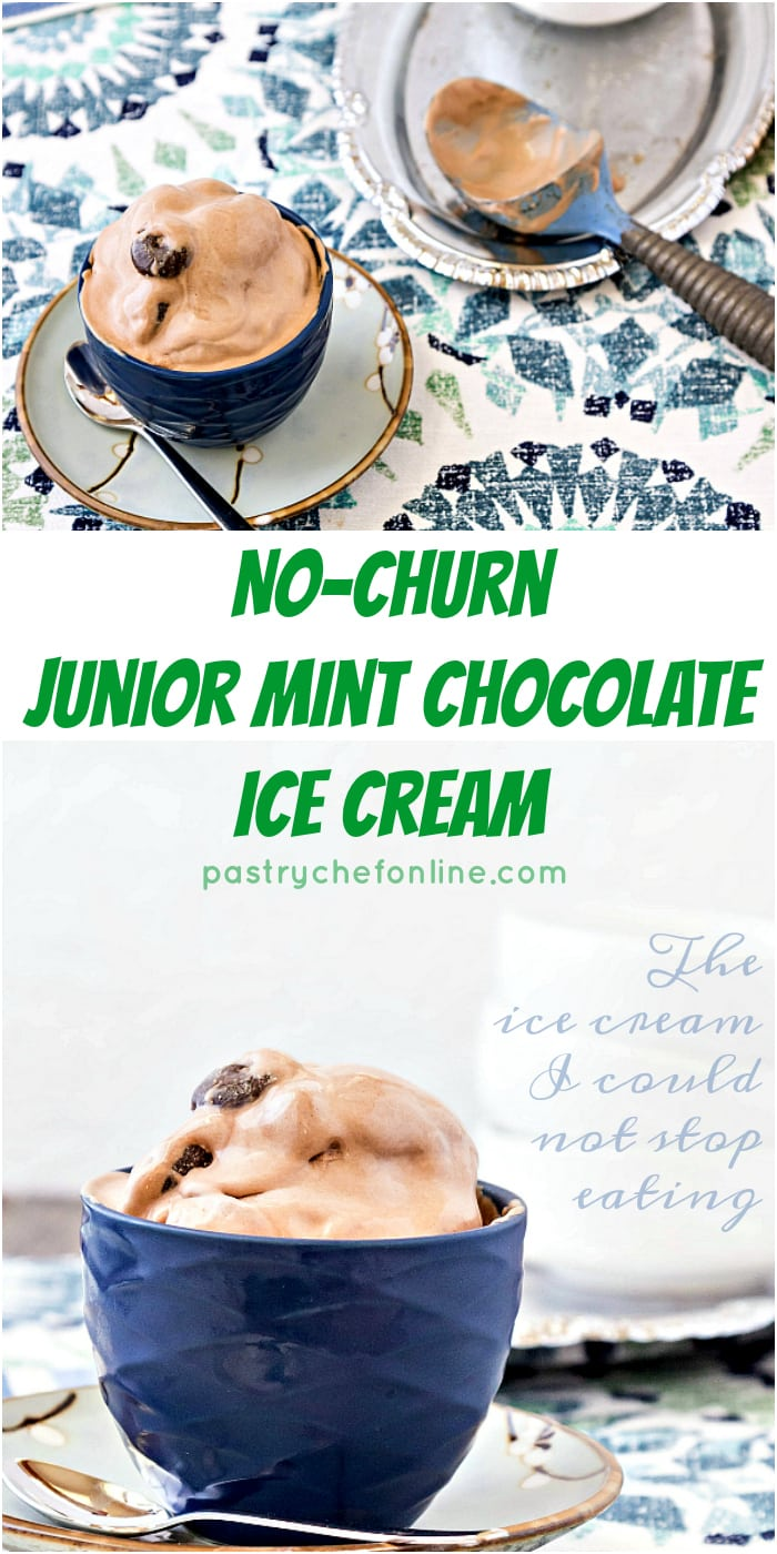 """A bowl of  Junior Mint Chocolate Ice Cream next to an ice cream scoop, resting on a silvery platter. Text reads: """"No-churn Junior Mint Chocolate Ice cream"""""""