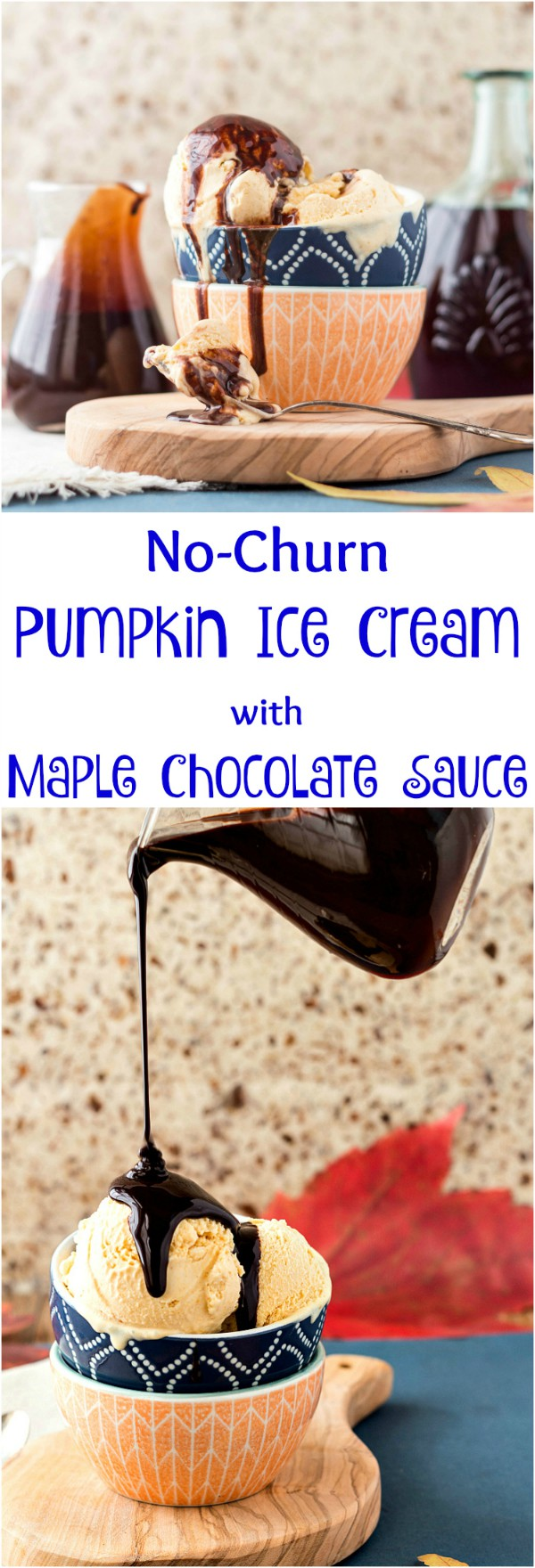 Orange-Cardamom Pumpkin Ice Cream is no-churn and bridges the gap between summer and fall flavors. Find the recipe here, and if you'd like to make the Maple Chocolate Sauce that goes with it, you'll find both recipes over at The Heritage Cook. | pastrychefonline.com