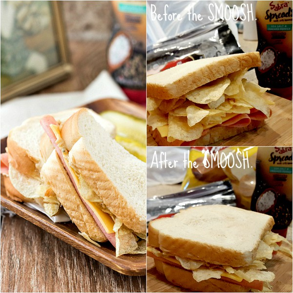 Collage of 3 images of a bologna and cheese, one showing potato chips piled on the sandwich, another after you smush the chips down, and a third with the sandwich cut on a plate.
