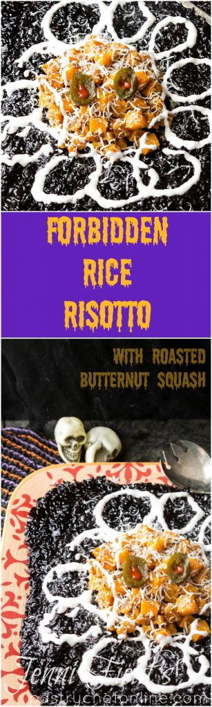 "a long pin image with two images of black rice risotto divided by text reading ""forbidden rice risotto"""