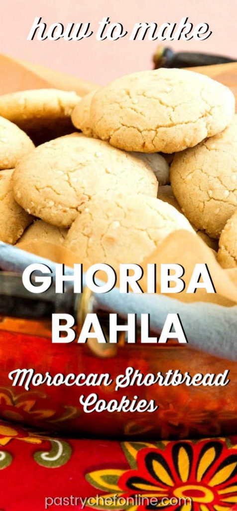 """a plate of shortbread cookies text reads """"how to make ghoriba bahla Moroccan shortbread cookies"""""""