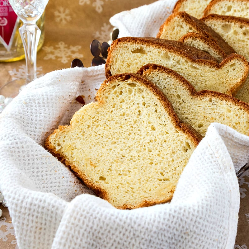 close up of slices of brioche showing the fine crumb structure the champagne yeast gives to it
