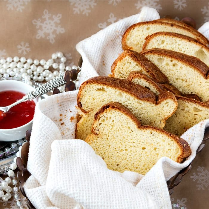 Sliced bread made from champagne yeast brioche.