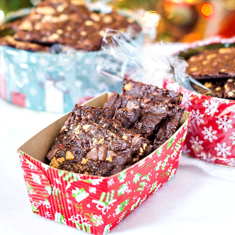 Peppermint Brownie brittle in decorative boxes for gifting.