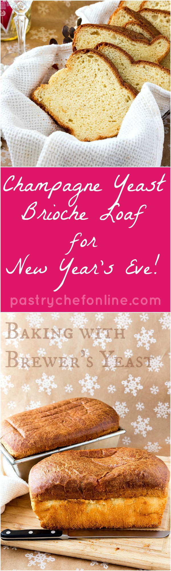 This champagne yeast brioche loaf recipe yields a rich, buttery, tender, and wonderful loaf of brioche. Using champagne yeast in the dough makes this the perfect bread to serve at your New Year's Eve party. Enjoy!   pastrychefonline.com