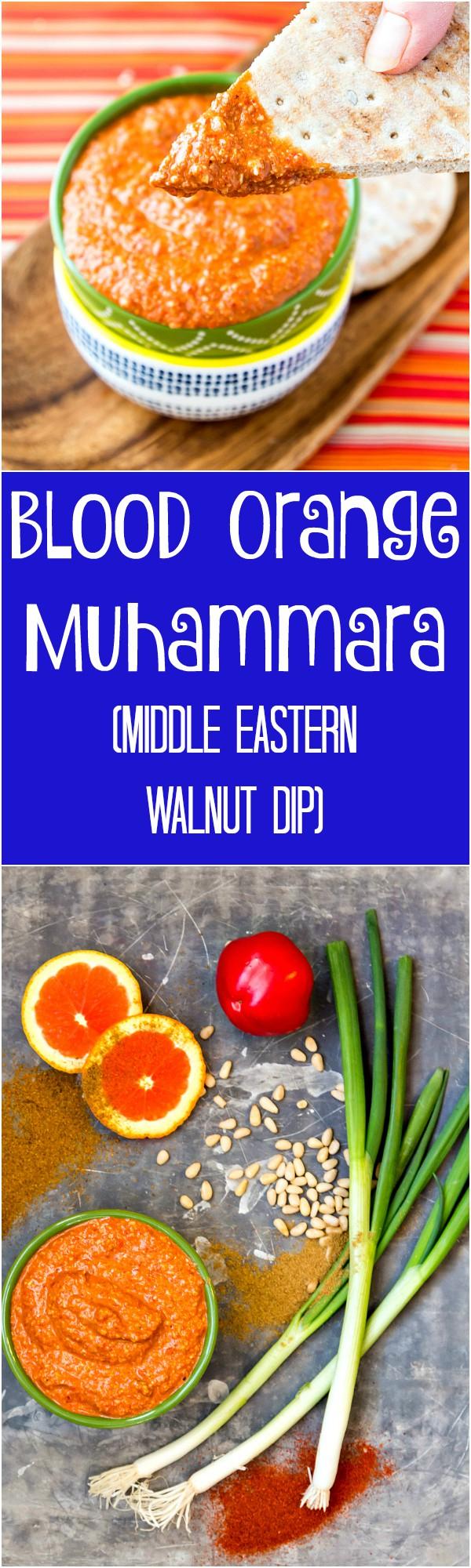 2 images of blood orange muhammara stitched together in a long collage. text reads blood orange muhammara (middle eastern walnut dip)