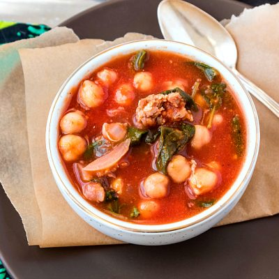 Easy Italian Sausage Soup with Chickpeas and Spinach