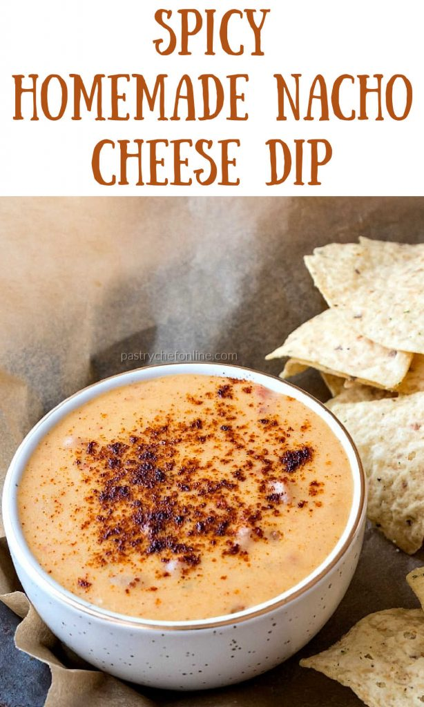 """bowl of cheese dip text reads """"spicy homemade nacho cheese dip"""""""