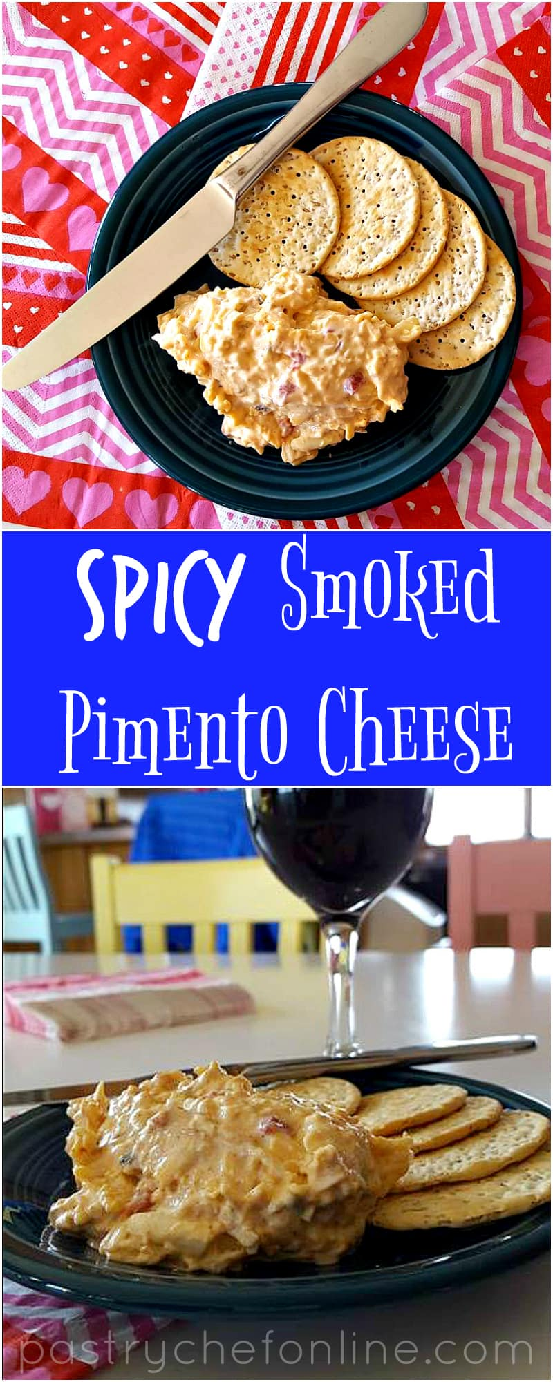 """Black plate with pimento cheese spread and crackers ready for serving.  Text reads """"spicy smoked pimento cheese."""""""