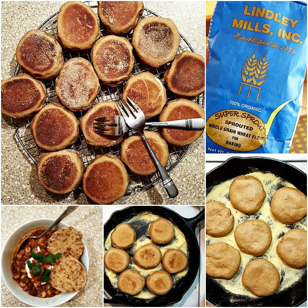 Collage of images showing baked English muffins, a bag of sprouted whole wheat flour, English muffins baking over low heat in a semolina-dusted skillet, and a bowl of pinto beans with a split and toasted English muffin.
