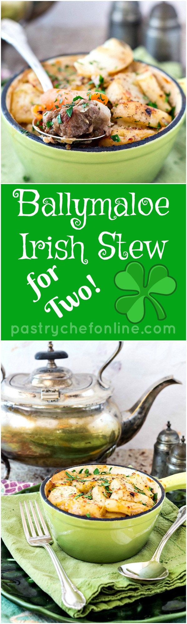 Ballymaloe Irish Stew for Two (or Four) is made of simple ingredients flavored simply. The result is a rich, satisfying stew perfect for your St. Patrick's Day dinner or any time you want an easy stew recipe.   pastrychefonline.com