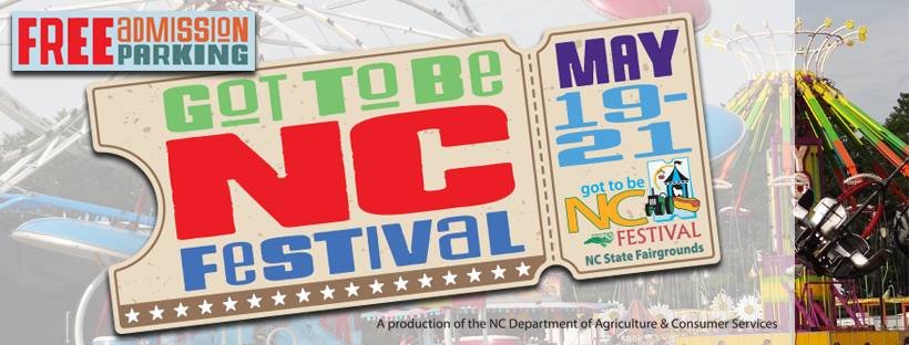 Poster of Got to be NC festival ticket with carnival ride in the background.