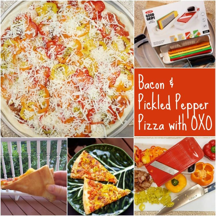 Collage of photos of bacon and pickled pepper pizza using some #oxopizza treats from my friends at OXO.