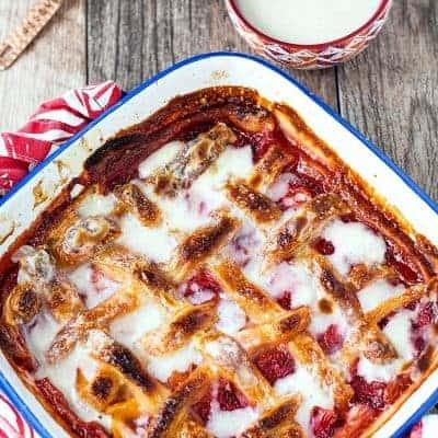 Strawberry Peach Sonker with Milk Dip