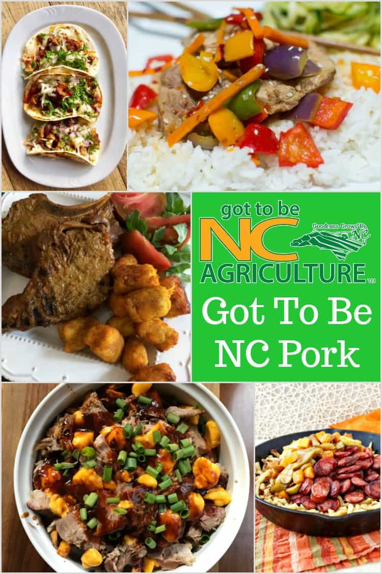 Collage of 5 delicious meals featuring local North Carolina pork available at farmers markets throughout the state. Text reads: Got to Be NC Agriculture. Got to be NC Pork.