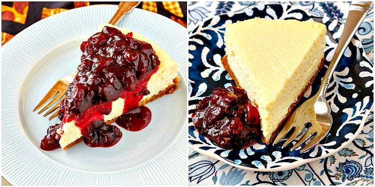 Collage of two photos of roasted corn cheesecake. one with fruit compote spooned over the top and one with the compote next to the cheesecake.
