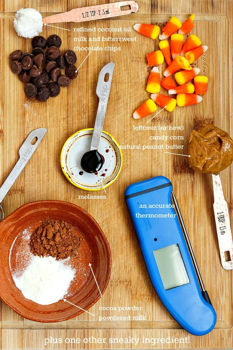 Collage of the ingredients in this butterfinger recipe: chocolate chips, candy corn, coconut oil, molasses, peanut butter, cocoa powder, milk powder, and a good thermometer.
