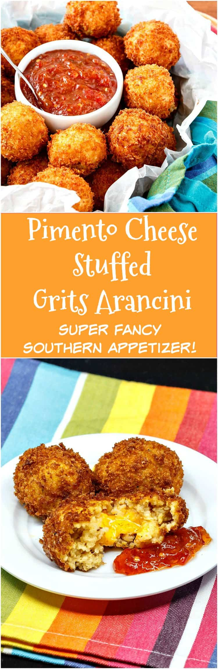 Pimento Cheese Stuffed Grits Arancini are a fancy southern appetizer guaranteed to please at your next holiday cocktail party. Crispy on the outside, creamy and cheesy on the inside. When paired with pepper jelly for dipping, it's hard to beat these southern style arancini! | pastrychefonline.com