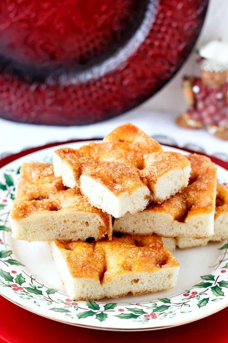 A platter of squares of Moravian sugar cake.