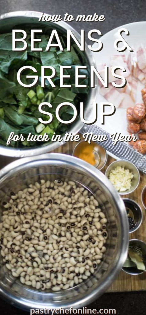 """overhead shot of a pot of black eyed peas, greens, and spices text reads """"Instant Pot beans & greens soup for a lucky new year"""""""