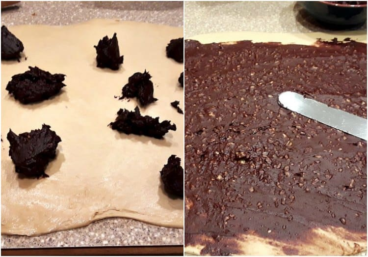Collage of spreading out the filling in the pecan babka, one with the filling dotted over the rolled dough and the other with the filling spread out with an offset spatula.