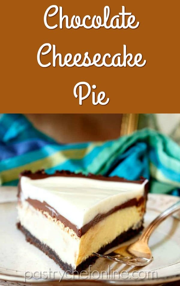 "slice of cheesecake pie text reads ""Chocolate Cheesecake Pie"""