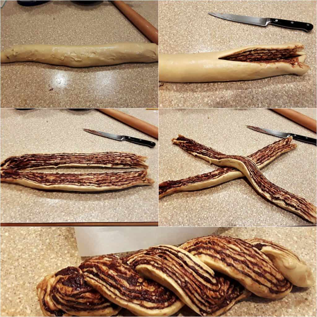 Collage of 5 images showing how to split a roll of dough and twist together to shape a babka.