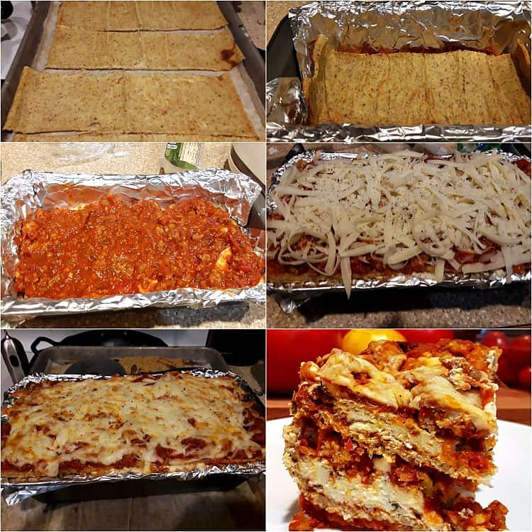 Collage of 6 photos showing baked cauliflower noodles, layering, and baking the lasagna.