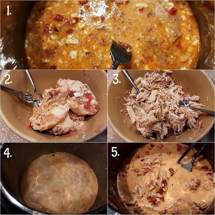 A 5 picture collage showing instant pot crack chicken after cooking and then shredding the chicken. Lastly stirring chicken back into sauce.