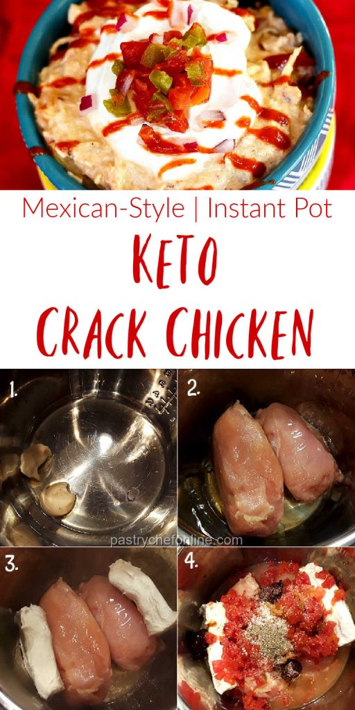 """image of steps of how to make crack chicken text reads """"mexican style 