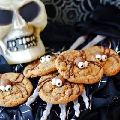 Malted Milk Ball Spider Cookies for Halloween